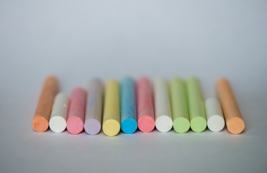 Colorful Chalk Lined Up Ready For Art